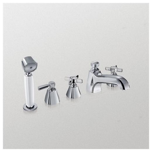 Guinevere Deck-Mount Bath Faucet with Cross Handles