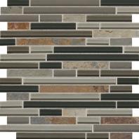 Slate Radiance Flint 5/8 Random Linear Mesh-Mounted Mosaic Blend SA55
