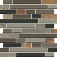 Slate Radiance Flint 1 Random Linear Mesh-Mounted Mosaic Blend SA55