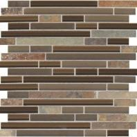 Slate Radiance Saddle 5/8 Random Linear Mesh-Mounted Mosaic Blend SA56