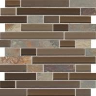 Slate Radiance Saddle 1 Random Linear Mesh-Mounted Mosaic Blend SA56