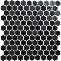 Uptown Glass Ebony 1 Hexagon Mosaics UP19