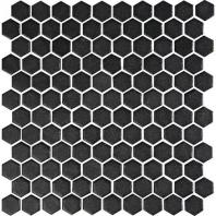 Uptown Glass Matte Ebony 1 Hexagon Mosaics UP22