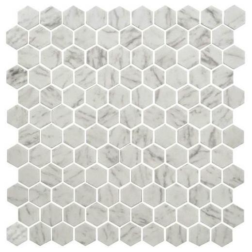 Buy Daltile Uptown Glass Carrara 1 Hexagon Mosaics Up23