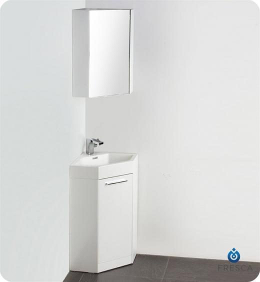 "Coda 18"" Corner Vanity Set With Medicine Cabinet FVN5084WHCAB"