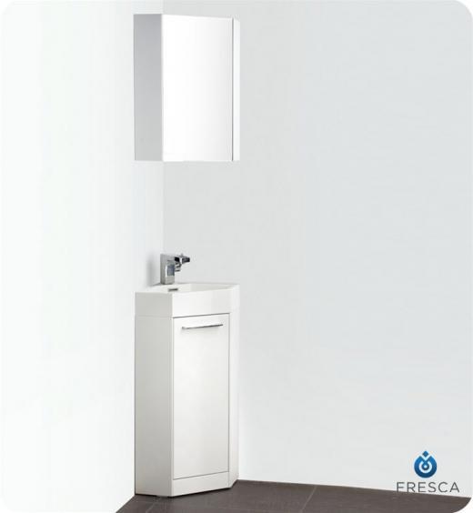 "Coda 14"" Corner Vanity Set With Medicine Cabinet FVN5082WHCAB"