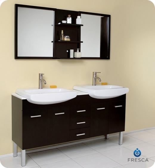 "Vetta 60"" Double Sink Bathroom Vanity Set With Mirror FVN6193ES"