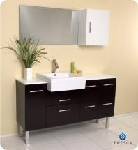 "Serio 56"" Bathroom Vanity Set With Mirror & Side Cabinet FVN6143ES"