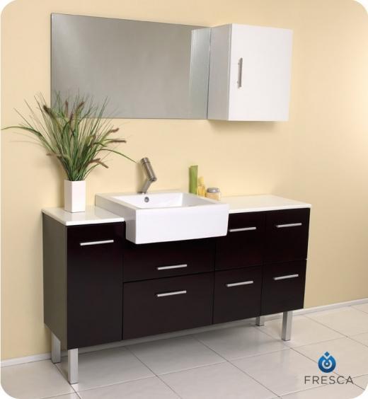 """Serio 56"""" Bathroom Vanity Set With Mirror & Side Cabinet FVN6143ES"""