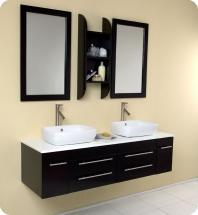 "Bellezza 59"" Double Vessel Sink Bathroom Vanity Set With Mirror FVN6119ES"
