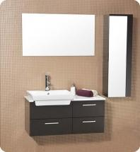 Fresca Caro Modern Bathroom Vanity w/ Mirrored Side Cabinet - Espresso