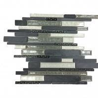 Soho Studio Art Glass Botanical Series Black Slate Crushed Glass Backsplash AGBTBLKSLT