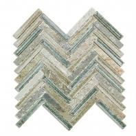 Soho Studio Art Glass Herringbone Series Quartz Sea Crushed Glass Backsplash ARTGHERQRTZSEA