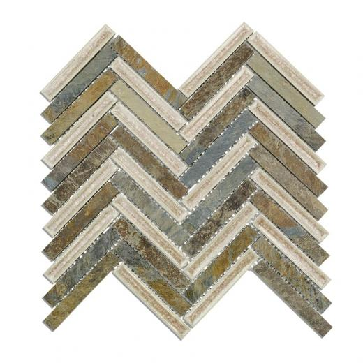 Soho Art Glass Herringbone Series Slate Fern Crushed Glass