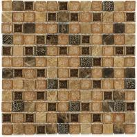 Soho Studio Art Glass Series 1x1 Mocha Bar Crushed Glass Backsplash ARTGSQMOCHA1X1