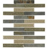 Soho Studio Art Glass Rustic Series 1x6 Slate Crushed Glass Backsplash ARTGBRKRUST1X6