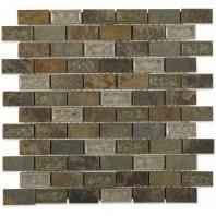 Soho Studio Art Glass Rustic Series 1x2 Slate Crushed Glass Backsplash ARTGBRKRUST1X2