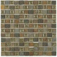 Soho Studio Art Glass Rustic Series Slate with 1x1 Deco Crushed Glass Backsplash ARTGSQRUST1X1