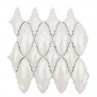 Soho Studio Baroque Ornate Series Blanco Crushed Glass Tile