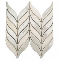 Soho Studio Baroque Floret Series Blanco Chevron Glass Tile