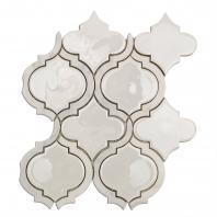 Soho Studio Baroque Lantern Series Blanco Arabesque Glass Tile