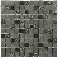 Soho Studio BDA Series Black Castle 1x1 Mosaic Backsplash