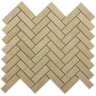 Soho Studio Crema Marfil Series 1x3 Herringbone Polished Marble Tile