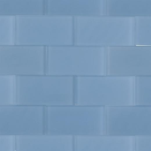 Soho Studio Crystal Series Blue Gray 3x6 Frosted Subway Glass Tile