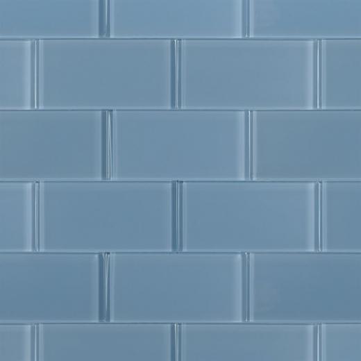 Soho Studio Crystal Series Blue Gray 3x6 Polished Subway Glass Tile