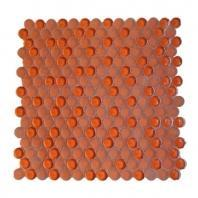 Soho Studio Crystal Series Burnt Orange Penny Rounds Glass Backsplash