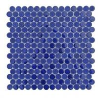 Soho Studio Crystal Series Cobalt Blue Penny Rounds Glass Backsplash