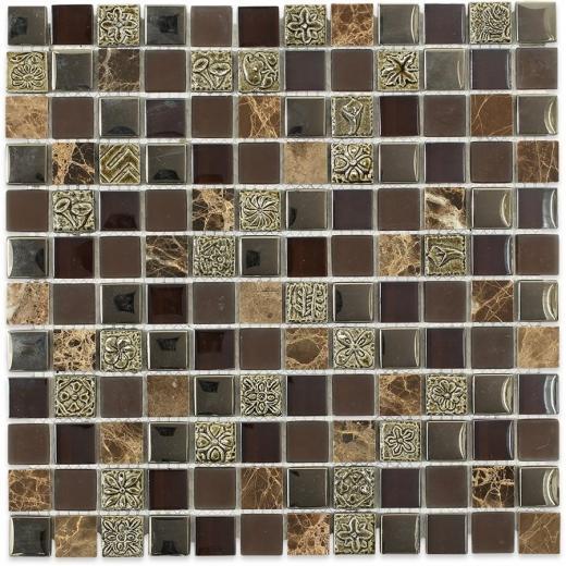 Soho Studio BDA Series Rustic Oak 1x1 Mosaic Backsplash