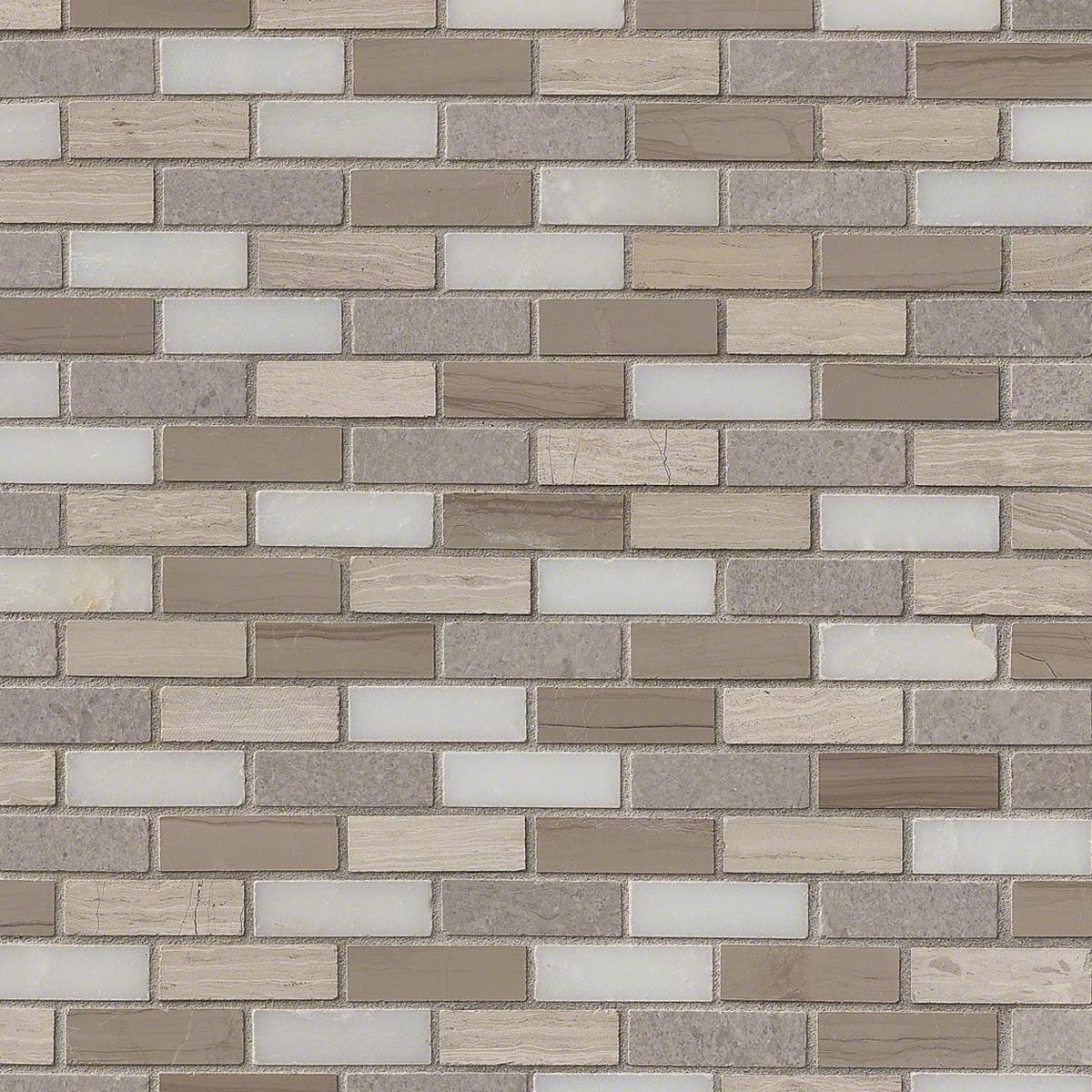 - MSI Stone Arctic Storm Mini Brick Mosaic Backsplash SMOT-AS-10MM HDAZ