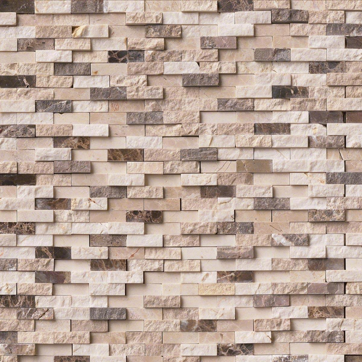 - MSI Stone Emperador Blend Splitface Mosaic Backsplash EMPB-SFIL10MM