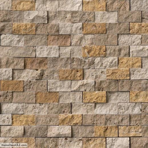 MSI Stone Mixed Travertine Splitface Mosaic Backsplash SMOTMIXTR1X2SF