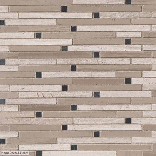 MSI Stone White Oak Blend Interlocking Mosaic Backsplash SMOT-STIL-WOB10MM