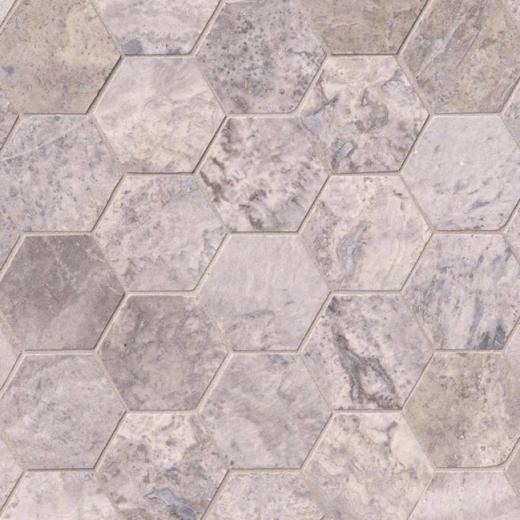 Silver Travertine Backsplash: MSI Silver Travertine Hexagon Tile Backsplash SMOT-SILTRA