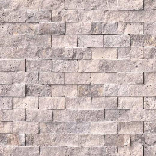 Msi silver travertine split face tile backsplash smot for Split face travertine kitchen backsplash