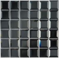 Glasstile Checkers Series Hematite Squares Mosaic Tile CKR112