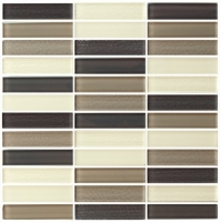 Eleganza Blend Latte Matte Stacked Mosaic Tile GL3401