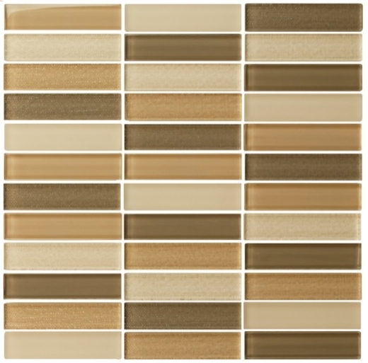 Eleganza Blend Capuccino Matte Stacked Mosaic Tile GL3403