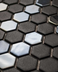 Eleganza Gun Metal Hexagon Mosaic Tile 202906