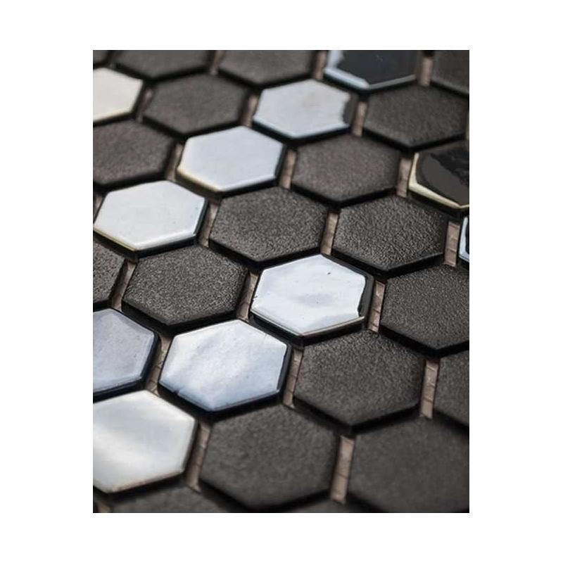Eleganza Gun Metal Hexagon Mosaic Tile 202906   Home Decor AZ