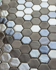 Eleganza Blend Tan Malla Hexagon Mosaic Tile 202922