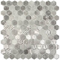 Eleganza Grey Silver Mix Malla Hexagon Mosaic Tile 203265