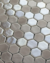 Eleganza Blend Taupe Malla Hexagon Mosaic Tile 202920