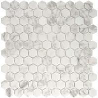 Eleganza Statuario Malla Matte Hexagon Mosaic Tile 203246