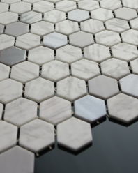 Eleganza Blend Metal Carrara Hexagon Mosaic Tile 202941