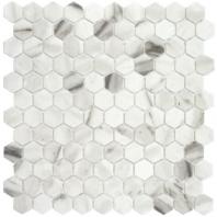 Eleganza Calacatta Malla Matte Hexagon Mosaic Tile 203259
