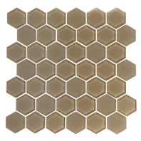 Eleganza Mocha Hexagon Glass Mosaic Tile GL3513